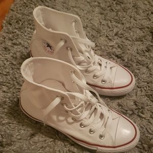 Twice used white high top converse